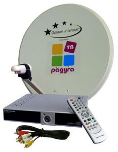 Raduga TV Satellite kit: receiver, antenna, converter, smart card